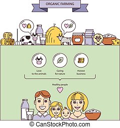 Organic dairy farming - Vector illustration on the theme of...