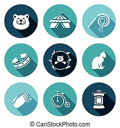 Vector Set of Cat Circus Icons. Kitty, Tent, Whip, Collar,...