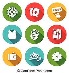 Vector Set of Casino Icons. Roulette, Deck, Win, Croupier,...
