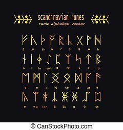 Rune alphabet Occult ancient symbols - Set of Old Norse...