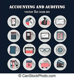Bookkeeping vector flat icons. Finance, accounting and...