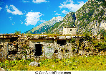 Fortress ruins of World War 2 in mountain - Fortress ruins...