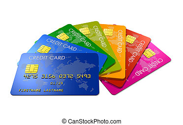 Colored credit cards - credit cards group making a color...