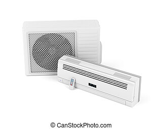 Air conditioner on white - Split system air conditioner on...