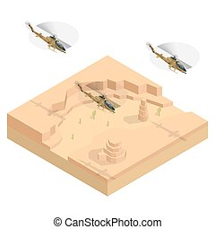 Isometric Military helicopter over the desert. Flat 3d vector illustration