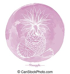 Pineapple on watercolor pink cirlce