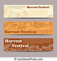Harvest festival vegetable horizontal banners