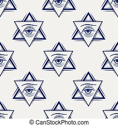 Double triangle and eye seamless pattern - Double triangle...