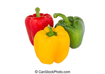 Bell pepper three colors red, yellow and green isolated on...