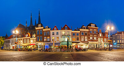 Markt square at night in Delft, Netherlands - Panorama wiyh...