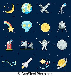 Space Symbol Innovation Technology Flat Design Icons Set...