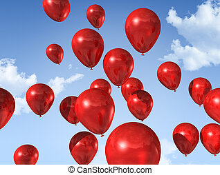 red balloons on a blue sky - red air balloons floating on a...