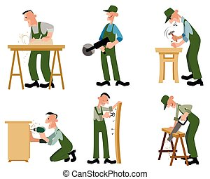 Woodwork professionals set - Vector illustration of a...