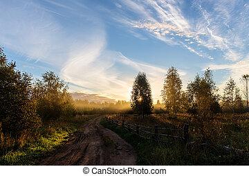 Rural road at dawn