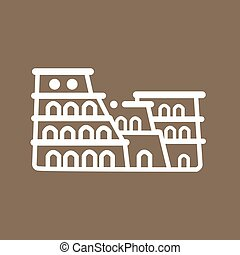 Rome colosseum Italy building ancient line art icon flat...