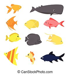 fish icon set vector exotic sea creature color-full fun...