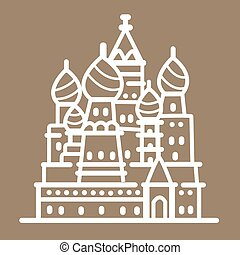 Rusia landmark building line art illustration outline icon...