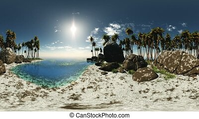 panoramic of tropical beach made with one 360 degree lense...