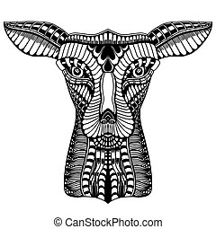 Deer head tattoo mehendi. Vector illustration image