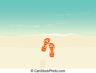 Sand beach with flip flops vector illustration, flat cartoon...