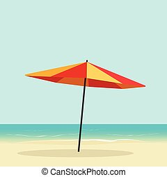 Beach umbrella on seaside vector, sea coast with sun parasol...