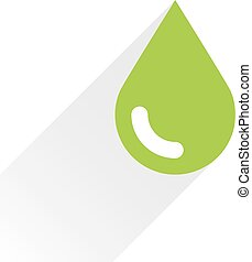 Green color drop icon with gray long shadow on white...