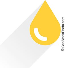 Yellow color drop icon with gray long shadow on white...