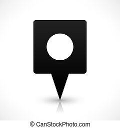 Black square map pins sign flat location icon - Black blank...