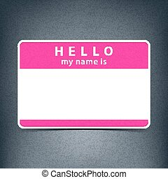 Blank name tag sticker HELLO
