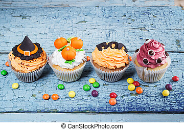 mastic,  Cupcakes,  Halloween, coloreado, decoraciones