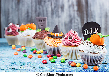 mastic,  Cupcakes,  Halloween, coloreado, decoraciones