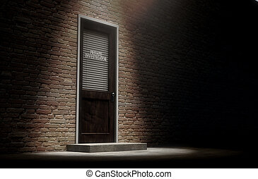 Private Eye Door Outside - A 3D render of a wooden door on a...