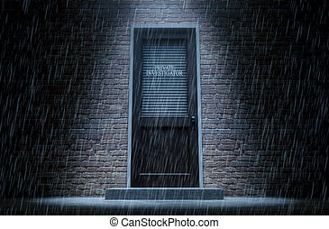 Private Eye Door Outside Rain - A 3D render of a wooden door...