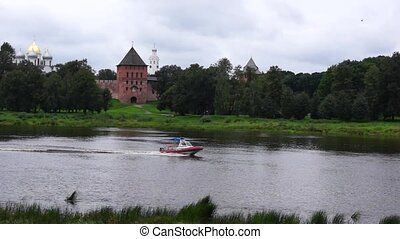 Rescue boat is on river Volkhov in Velikiy Novgorod