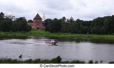 Rescue boat is on river Volkhov in Velikiy Novgorod