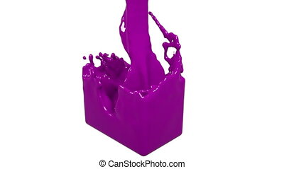 pink fluid fills up a rectangular container. Colored paint -...