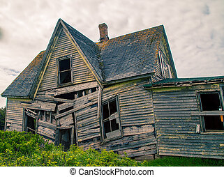 falling down home - Old abandon wooden house in rural prince...