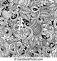 Cartoon cute doodles autumn seamless pattern
