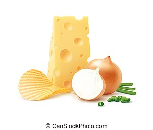 Potato Ripple Chips with Cheese and Onion Isolated - Vector...