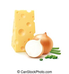 Piece of Swiss Cheese with Yellow and Green Onion - Vector...