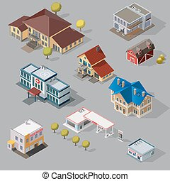 Isometric High Quality City Street Urban Buildings isolated...