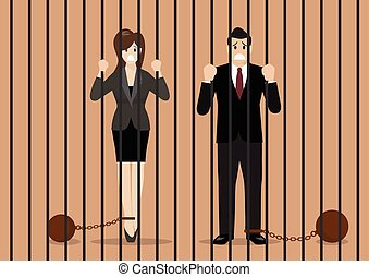 Business people with weights in prison. Business concept