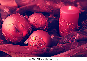 Christmas balls with candles. Holiday.