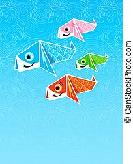 Carp streamers origami - Japanese poster with origami carp...
