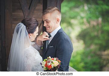 These romantic happy moments of wedding couple. - These...