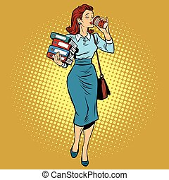 Business woman drinking coffee on the go, pop art retro...