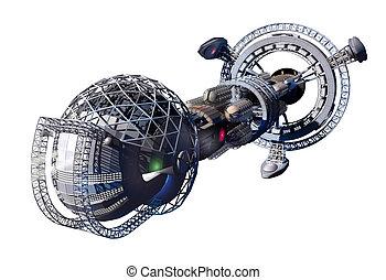 Alien mothership or spacelab - 3d rendering of spaceship or...