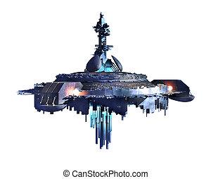 Unidentified Flying Object - 3D illustration of an alien ufo...
