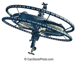 Futuristic space station - 3d Illustration of a space...