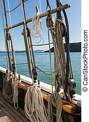 Tall Ship on the Bay of Islands - View through the rigging...